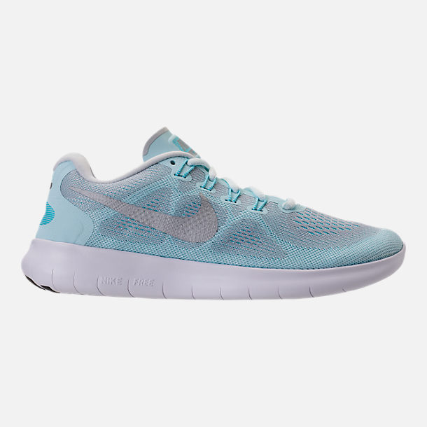 Right view of Women's Nike Free RN 2017 Running Shoes in Glacier Blue/Metallic Silver