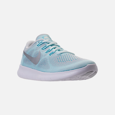 Three Quarter view of Women's Nike Free RN 2017 Running Shoes in Glacier Blue/Metallic Silver