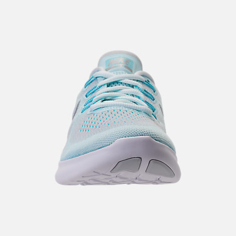 Front view of Women's Nike Free RN 2017 Running Shoes in Glacier Blue/Metallic Silver