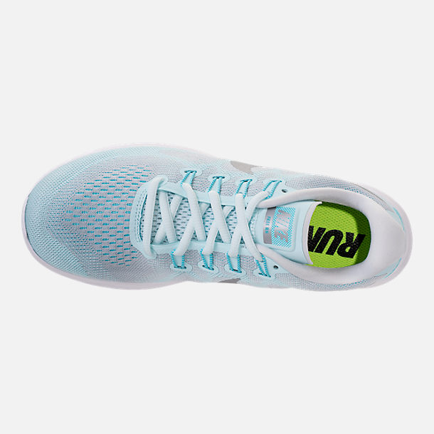 Top view of Women's Nike Free RN 2017 Running Shoes in Glacier Blue/Metallic Silver