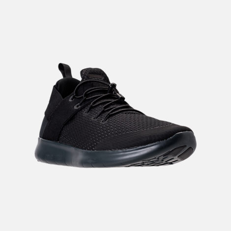 Three Quarter view of Women's Nike Free RN Commuter 2017 Running Shoes in Black/Dark Grey/Anthracite