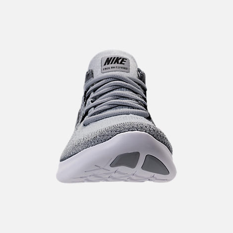 Front view of Men's Nike Free RN Flyknit 2017 Running Shoes in Wolf Grey/ Black