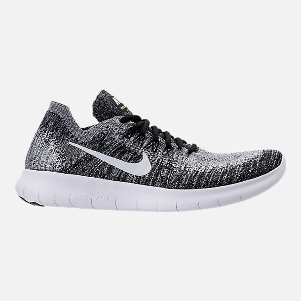 Right view of Mens Nike Free RN Flyknit 2017 Running Shoes in BlackWhite