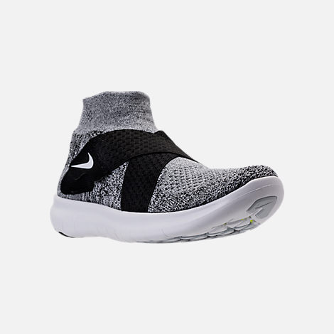 Three Quarter view of Men's Nike Free RN Motion Flyknit 2017 Running Shoes in Black/White/Pure Platinum