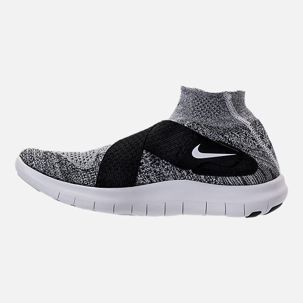 Left view of Men's Nike Free RN Motion Flyknit 2017 Running Shoes in Black/White/Pure Platinum