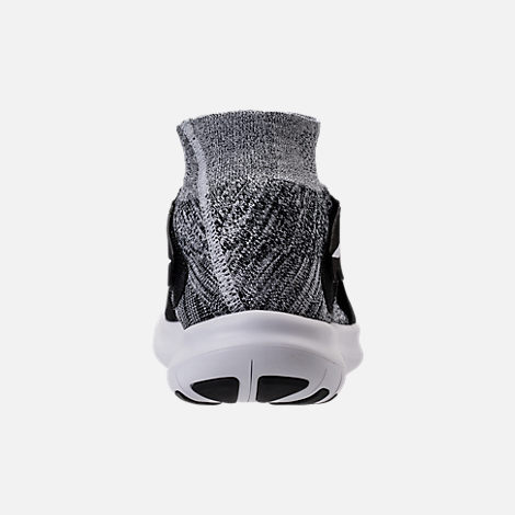 Back view of Men's Nike Free RN Motion Flyknit 2017 Running Shoes in Black/White/Pure Platinum