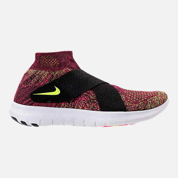 Right view of Women's Nike Free RN Motion Flyknit 2017 Running Shoes in Black/Chlorine Blue/Racer Pink