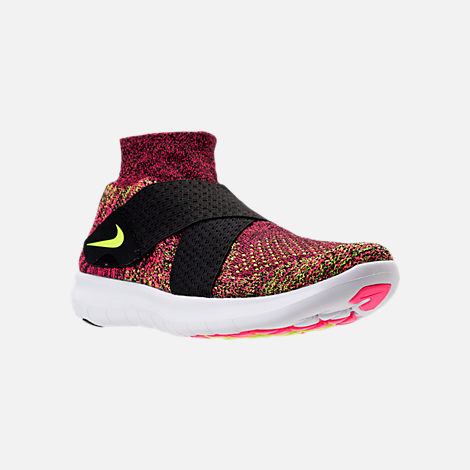 Three Quarter view of Women's Nike Free RN Motion Flyknit 2017 Running Shoes in Black/Chlorine Blue/Racer Pink