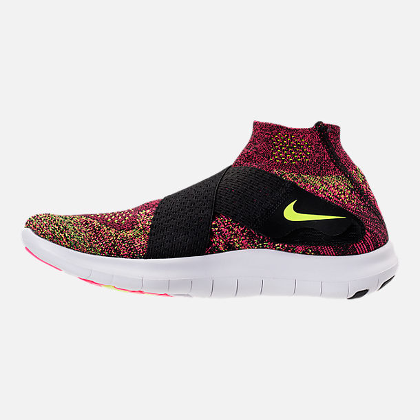 Left view of Women's Nike Free RN Motion Flyknit 2017 Running Shoes in Black/Chlorine Blue/Racer Pink