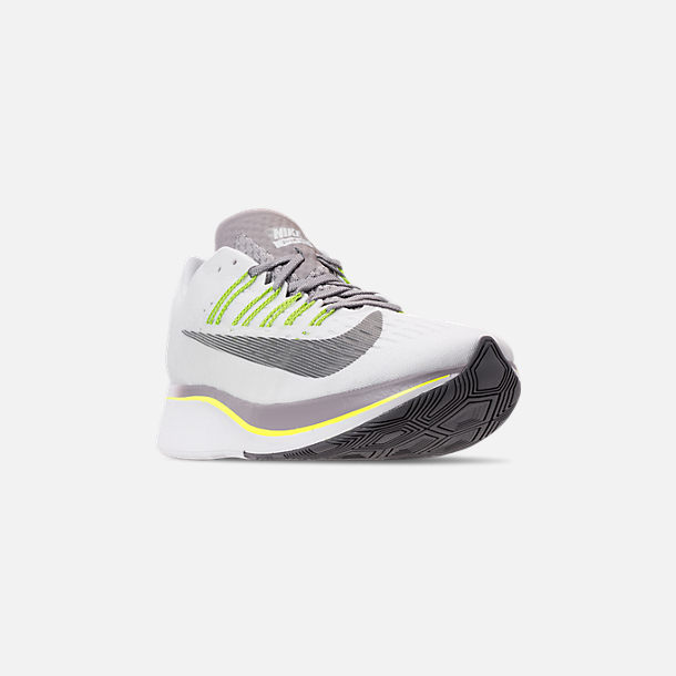 edcb38abca8 Three Quarter view of Men s Nike Zoom Fly Running Shoes in White Black  Bright