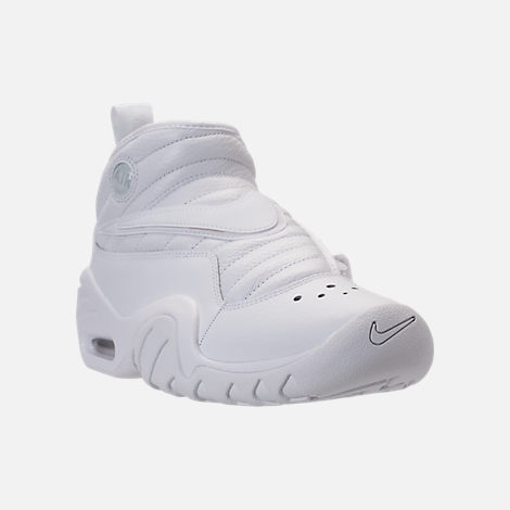 Three Quarter view of Men's Nike Air Shake NDestrukt Basketball Shoes in Triple White