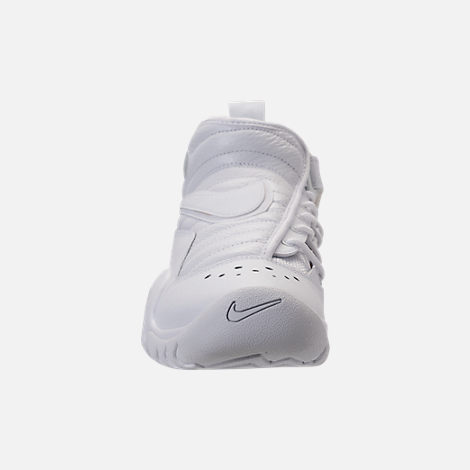 Front view of Men's Nike Air Shake NDestrukt Basketball Shoes in Triple White