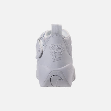 Back view of Men's Nike Air Shake NDestrukt Basketball Shoes in Triple White