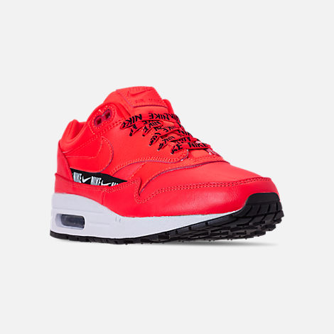 Three Quarter view of Women's Nike Air Max 1 SE Running Shoes in Bright Crimson/Black/White