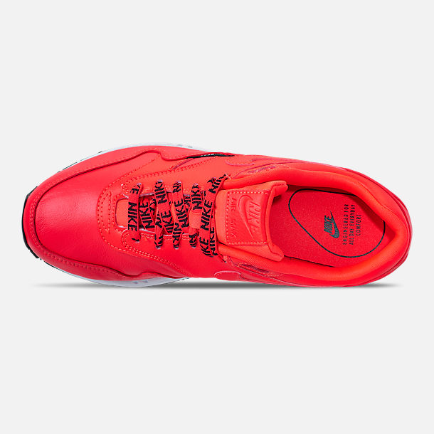 Top view of Women's Nike Air Max 1 SE Running Shoes in Bright Crimson/Black/White