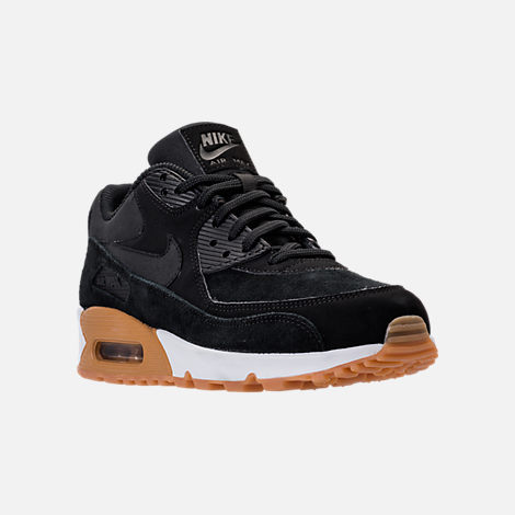 Three Quarter view of Women's Nike Air Max 90 SE Running Shoes in Black/Gum Medium Brown/Ivory