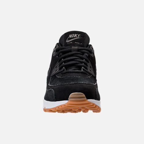 Front view of Women's Nike Air Max 90 SE Running Shoes in Black/Gum Medium Brown/Ivory