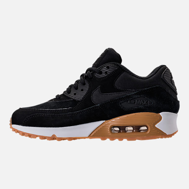 Left view of Women's Nike Air Max 90 SE Running Shoes in Black/Gum Medium Brown/Ivory