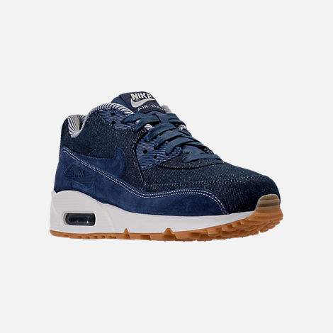 Three Quarter view of Women's Nike Air Max 90 SE Running Shoes in Binary Blue/Muslin/Sail