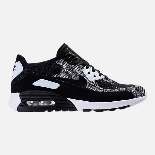 Right view of Women's Nike Air Max 90 Ultra 2.0 Flyknit Casual Shoes in Black/White