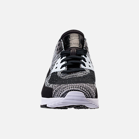Front view of Women's Nike Air Max 90 Ultra 2.0 Flyknit Casual Shoes in Black/White