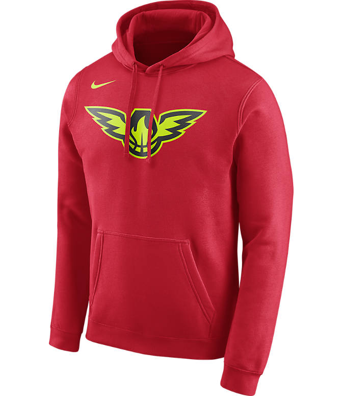Front view of Men's Nike Atlanta Hawks NBA Club Logo Fleece Hoodie in University Red