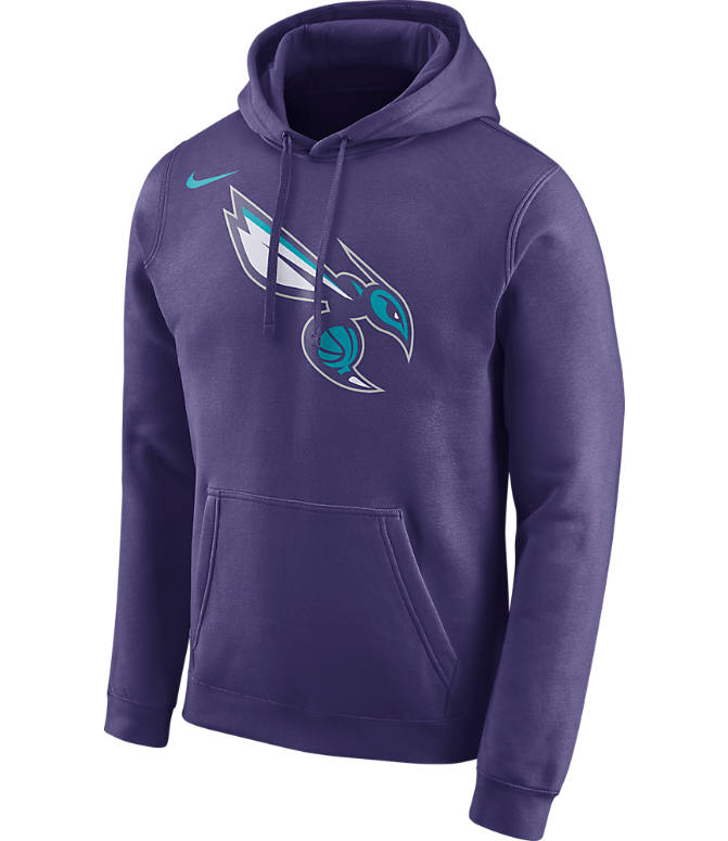 Front view of Men's Air Jordan Charlotte Hornets NBA Club Logo Fleece Hoodie in New Orchid