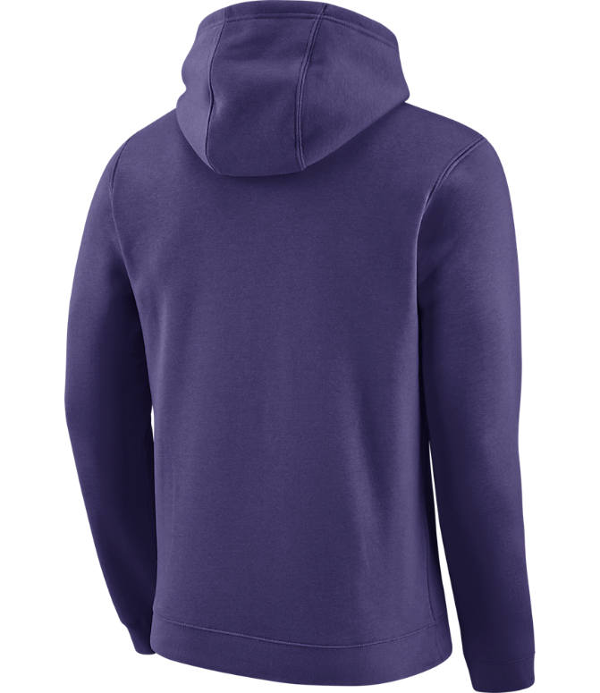 Back view of Men's Air Jordan Charlotte Hornets NBA Club Logo Fleece Hoodie in New Orchid