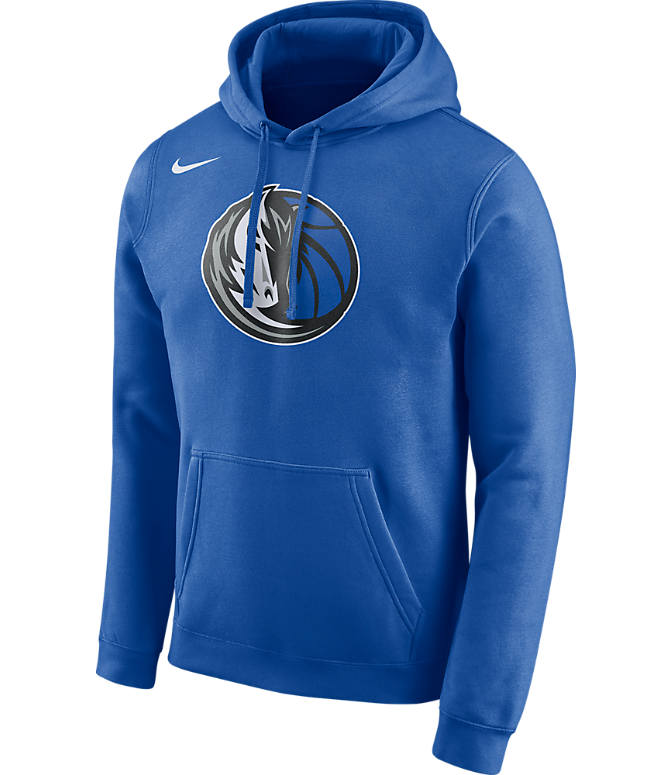 Front view of Men's Nike Dallas Mavericks NBA Club Logo Fleece Hoodie in Game Royal