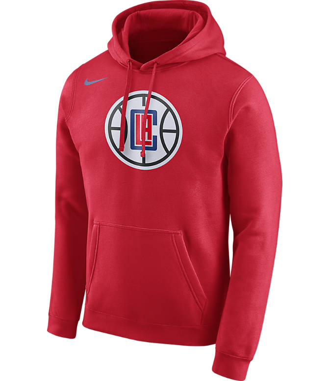 Front view of Men's Nike Los Angels Clippers NBA Club Logo Fleece Hoodie in University Red