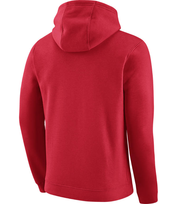 Back view of Men's Nike Los Angels Clippers NBA Club Logo Fleece Hoodie in University Red