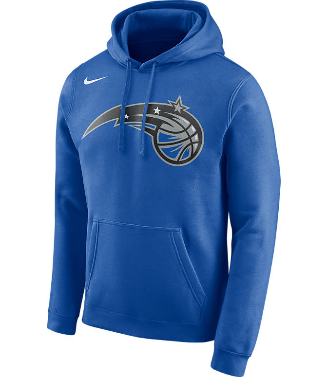 Front view of Men's Nike Orlando Magic NBA Club Logo Fleece Hoodie in Game Royal