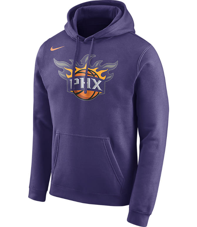 Front view of Men's Nike Phoenix Suns NBA Club Logo Fleece Hoodie in New Orchid