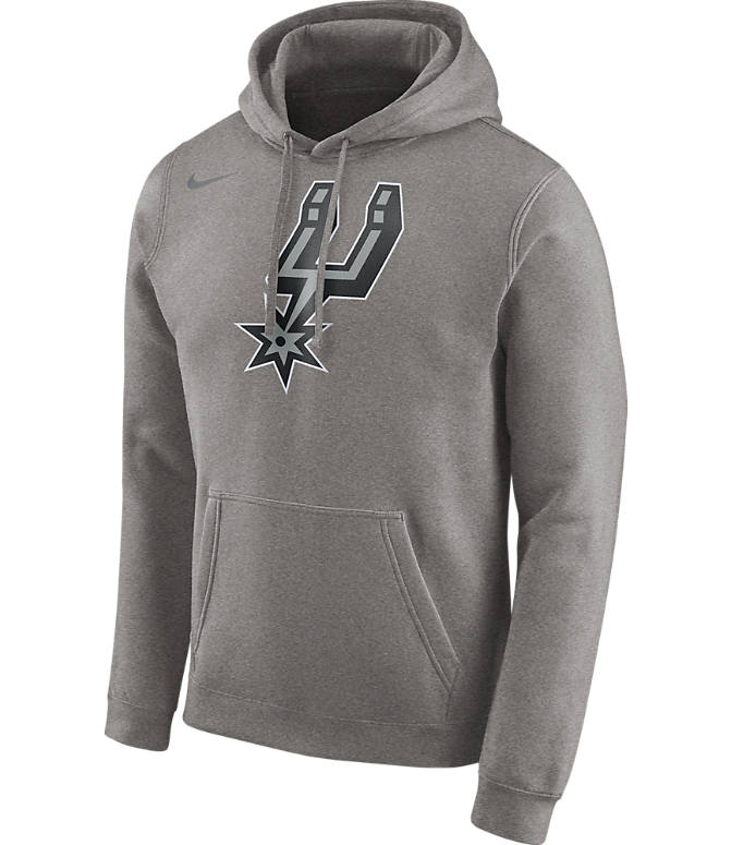Front view of Men's Nike San Antonio Spurs NBA Club Logo Fleece Hoodie in Dark Grey Heather