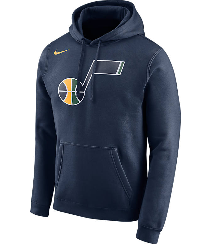 Front view of Men's Nike Utah Jazz NBA Club Logo Fleece Hoodie in College Navy