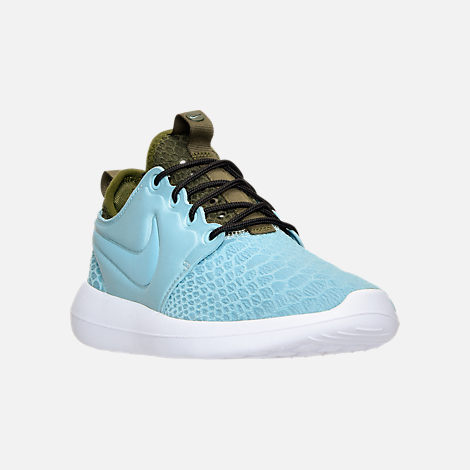 Three Quarter view of Women's Nike Roshe Two SE Casual Shoes in Mica Blue/Legion Green