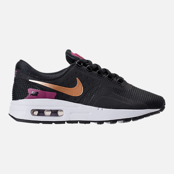 Right view of Girls' Grade School Nike Air Max Zero Essential Casual Running Shoes in Black/Metallic Gold/White/Tea Berry