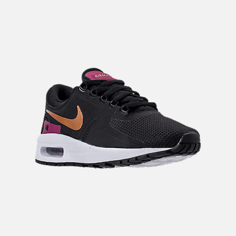 Three Quarter view of Girls' Grade School Nike Air Max Zero Essential Casual Running Shoes in Black/Metallic Gold/White/Tea Berry