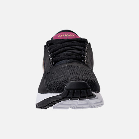 Front view of Girls' Grade School Nike Air Max Zero Essential Casual Running Shoes in Black/Metallic Gold/White/Tea Berry