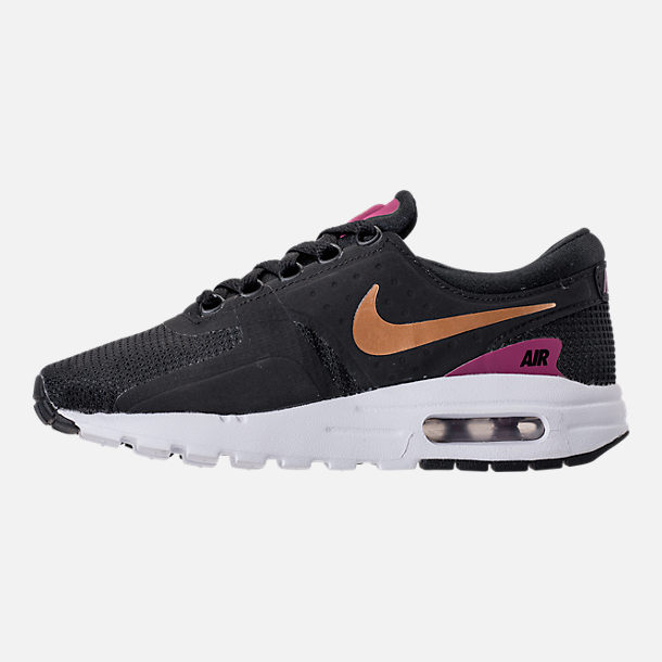 Left view of Girls' Grade School Nike Air Max Zero Essential Casual Running Shoes in Black/Metallic Gold/White/Tea Berry