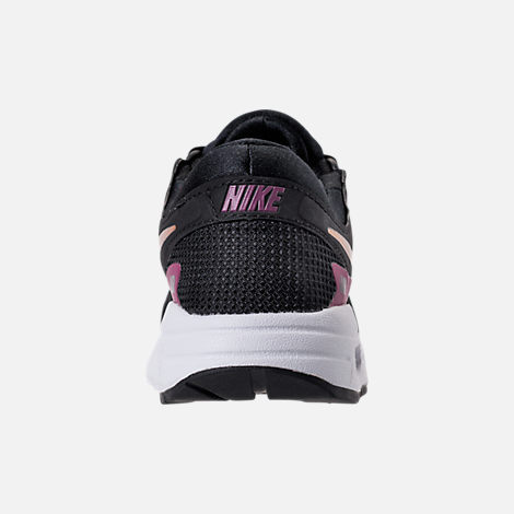 Back view of Girls' Grade School Nike Air Max Zero Essential Casual Running Shoes in Black/Metallic Gold/White/Tea Berry