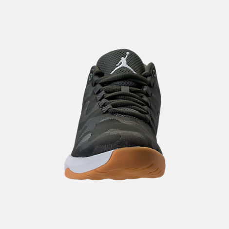 Front view of Boys' Grade School Jordan B. Fly Basketball Shoes in River Rock/White/Dark Stucco/Gum