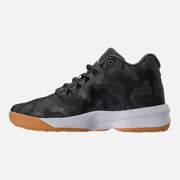 Left view of Boys' Grade School Jordan B. Fly Basketball Shoes in River Rock/White/Dark Stucco/Gum