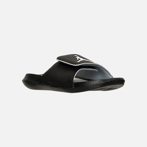 Three Quarter view of Men's Air Jordan Hyrdo 6 Slide Sandals in Black/White/Wolf Grey