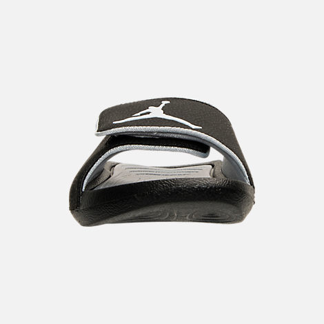 Front view of Men's Air Jordan Hyrdo 6 Slide Sandals in Black/White/Wolf Grey