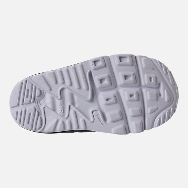 Bottom view of Boys' Toddler Nike Air Max Tiny 90 Running Shoes in Pure Platinum/Black/Cool Grey