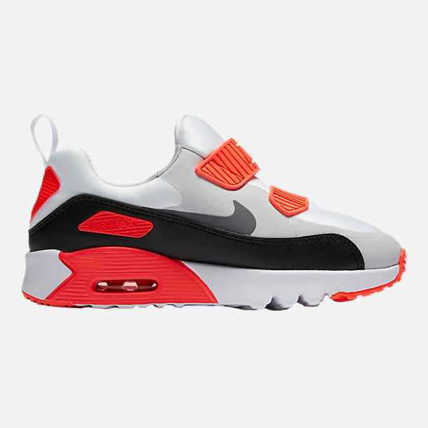 Right view of Boys' Preschool Nike Air Max Tiny 90 Running Shoes in Neutral Grey/White/Infrared