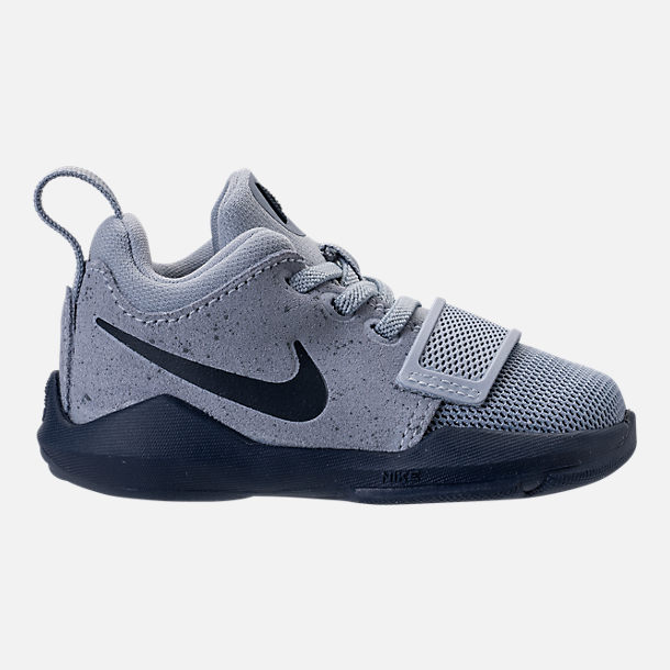 Right view of Boys' Toddler Nike PG 1 Basketball Shoes in Glacier  Grey/Armory