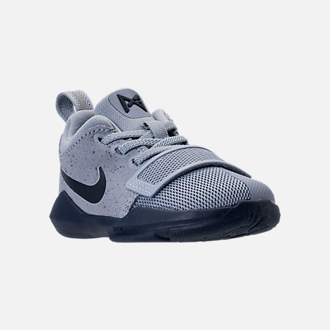 Three Quarter view of Boys' Toddler Nike PG 1 Basketball Shoes in Glacier Grey/Armory Blue