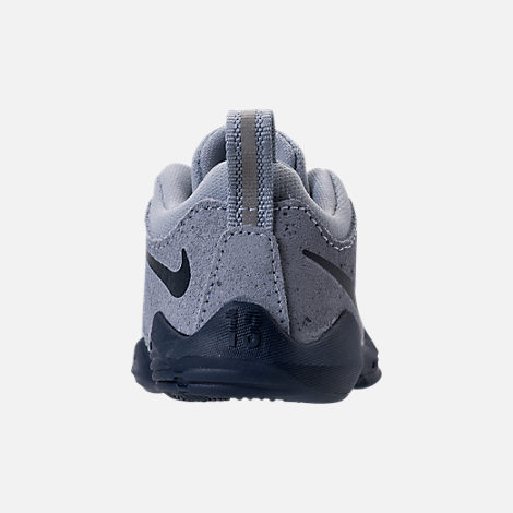 Back view of Boys' Toddler Nike PG 1 Basketball Shoes in Glacier Grey/Armory Blue